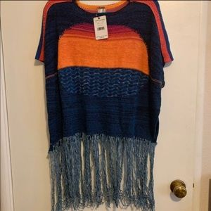 Free People Sunset Fringe Pullover Small x-Small